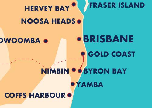 Australia Map Byron Bay.Gold Coast Byron Bay Popular Routes In Australia